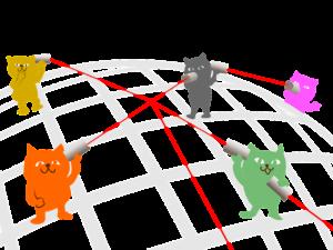 糸電話で話す猫たちのイラスト